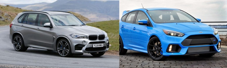 BMW X5 Ford Focus RS fronts